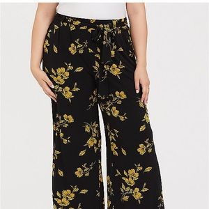 Black and gold floral wide leg pants